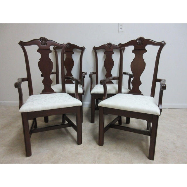 Pennsylvania House Cherry Shell Carved Dining Room Arm Chairs - Set of 4 For Sale - Image 11 of 11
