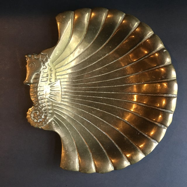 1980s Hollywood Regency Brass Seashell & Seahorse Catchall Dish For Sale - Image 6 of 6