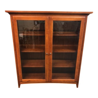 Transitional 2-Door Glass and Wood Display Cabinet For Sale
