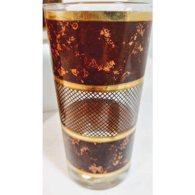 Metal Vintage Georges Briard Tortoiseshell Lattice Design Highball Glasses - Set of 6 For Sale - Image 7 of 8
