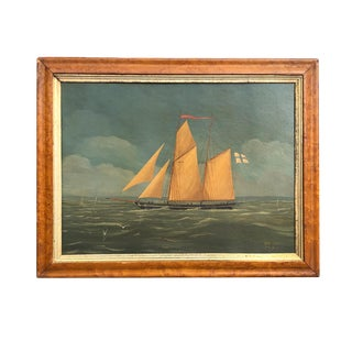 19th C. European Sailing Ship Seascape Painting For Sale
