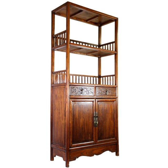 1930s Antique Chinese Solid Wood Fretwork Cabinet & Shelves For Sale - Image 5 of 5