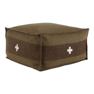 "Swiss Army Pouf, 24""X24""X13"", Green/Brown For Sale"