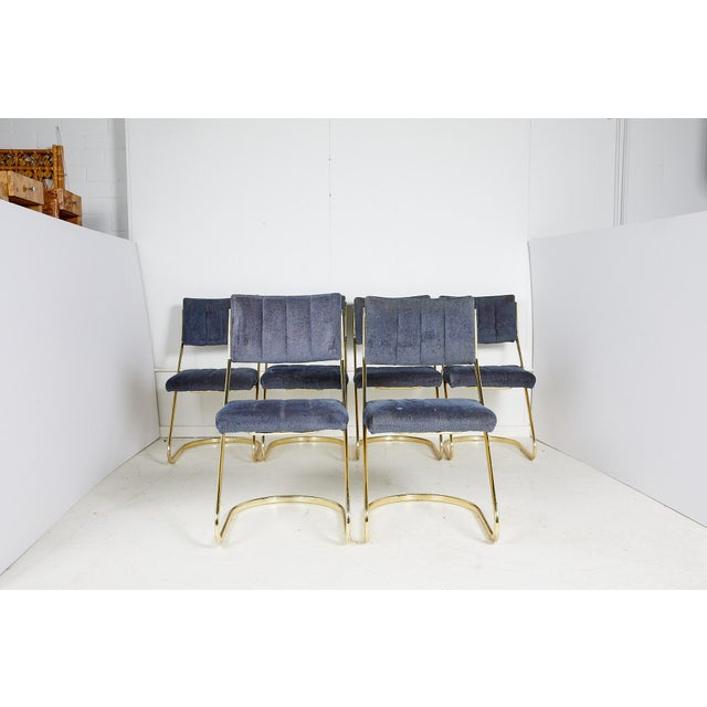 Mid-Century Modern Set of Six Vintage Brass Cantilever Dining Chairs by Douglas Furniture For Sale - Image 3 of 12