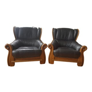 Belgian Leather & Carved Oak Wood Chairs - A Pair