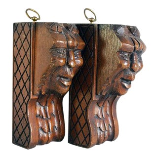 Carved Architectural Salvage Wood Faces - A Pair For Sale