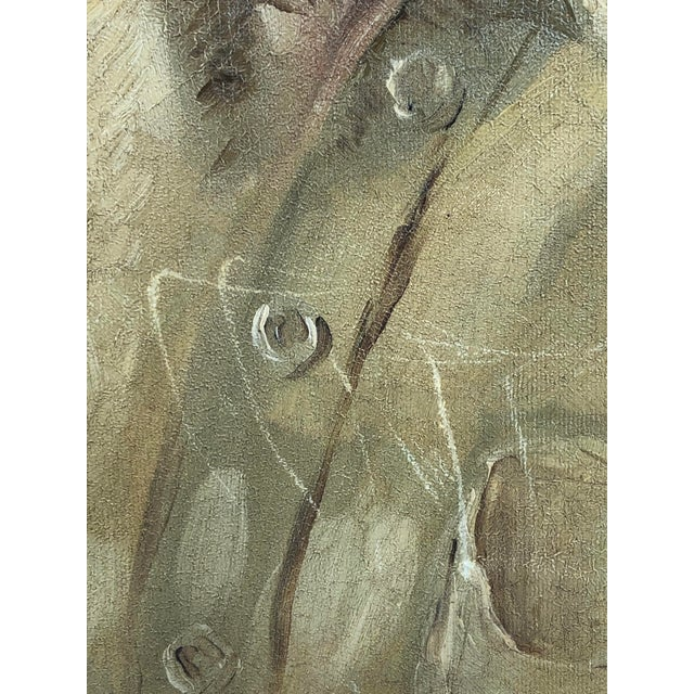 Canvas 1940s Vintage Portrait of a Man in White Shirt Oil on Canvas Painting For Sale - Image 7 of 12