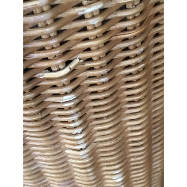 Rattan 1970s Boho Chic Trompe l'Oeil Draped Wicker Rattan Ghost Table For Sale - Image 7 of 11