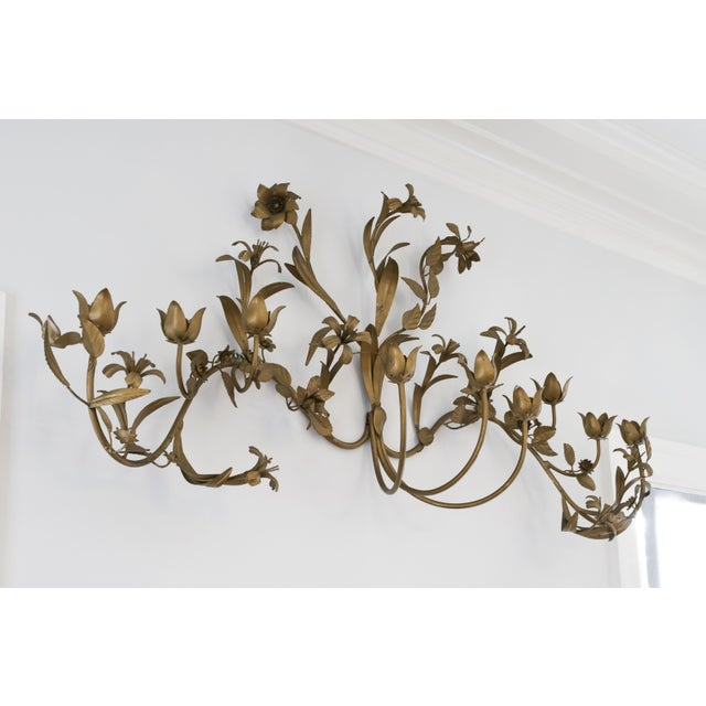 Brass Flower Candle Wall Hanging For Sale - Image 4 of 4