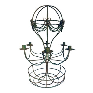 1950's Vintage French Wrought Iron 6 Light Hot Air Balloon Candle Chandelier For Sale