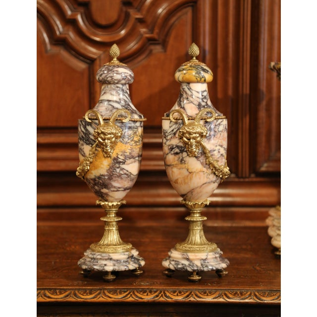 Gold 19th Century French Marble and Bronze Mantel Clock With Matching Cassolettes For Sale - Image 8 of 13