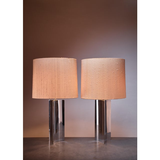 Mid-Century Modern Pair XL 1960s table/console lamps with folded chrome base and fabric hood For Sale - Image 3 of 4