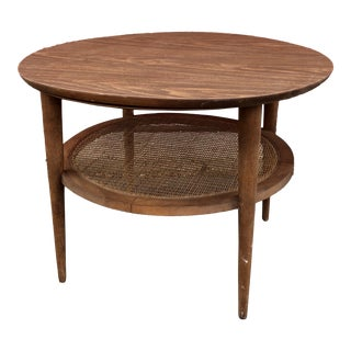 Lane Mid Century End Table With Cane Shelf For Sale