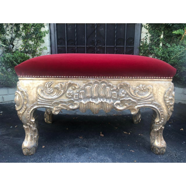 18th C Style Charles Pollock Royal Danish Ottoman Bench W Blood Red Velvet. This listing is for one bench but we actually...