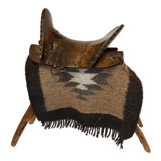 Northern China, Tibetan, Wooden Saddle With Log Stand and Handwoven Blanket For Sale