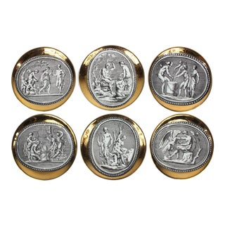 """Cammei"" Gilt Porcelain Coasters by Piero Fornasetti - Set of 6 For Sale"