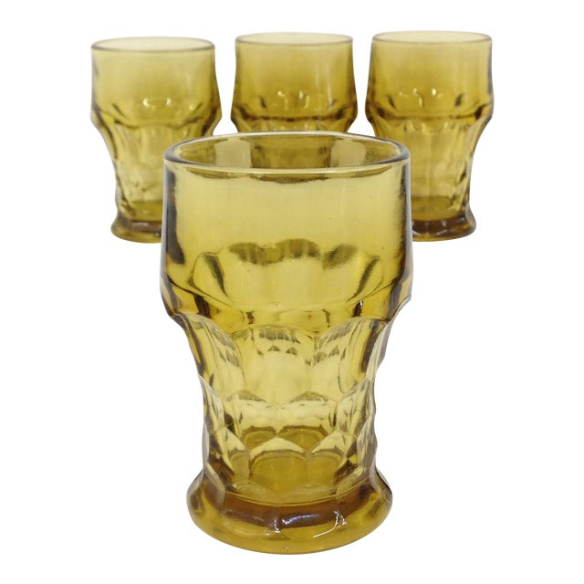 13225f60b874 Anchor Hocking Vintage Amber Glass Tumblers - Set of 4 | Chairish