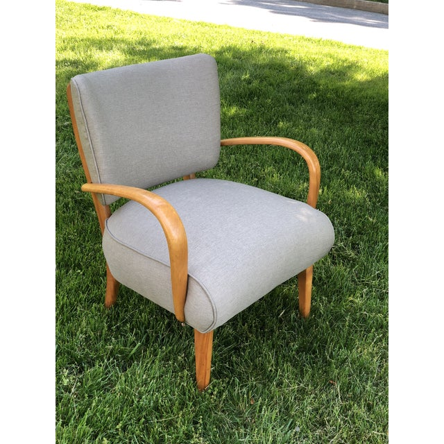 Tan Mid Century Modern Heywood Wakefield Birch Frame Arm Chair For Sale - Image 8 of 9