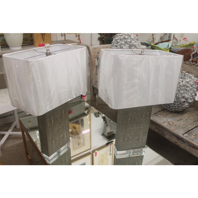 Shagreen Column Lamps - Pair - Image 3 of 7