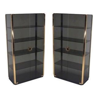 Pair of Mario Sabot Grey Glass Vitrines For Sale