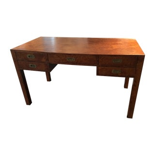 Vintage Italian Campaign Burled Wood Parsons Desk For Sale