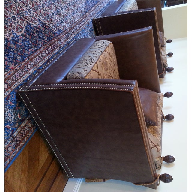 Safavieh Leather Nailhead Accent Chairs - Pair - Image 7 of 8
