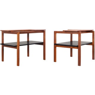 1950s Vintage Two-Tiered Walnut Side Tables by Greta M. Grossman - a Pair For Sale