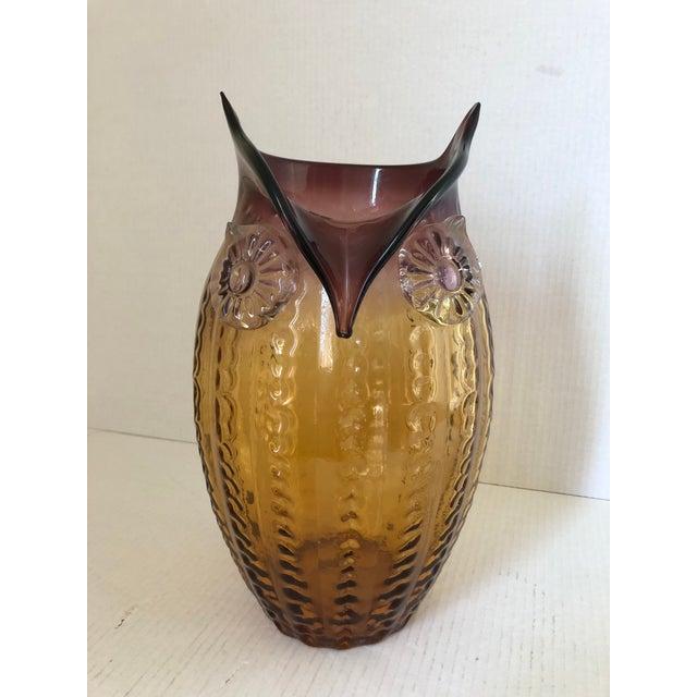 Vintage Art Glass Owl Vase For Sale - Image 9 of 9