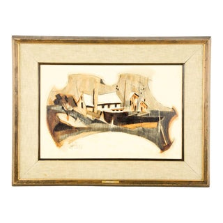"1964 Jack Amoroso Mixed Media on Paper ""Boat Yard"" Drawing For Sale"