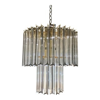 1960s Lucite and Brass Chandelier For Sale
