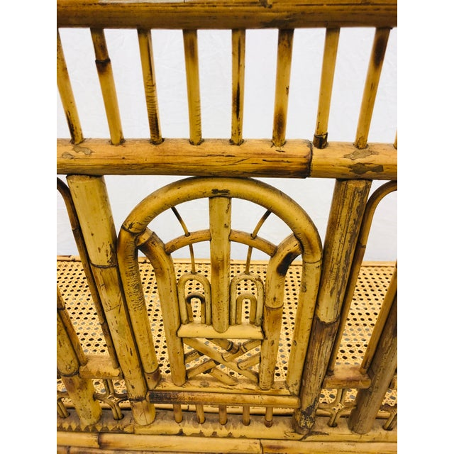 Vintage Chinese Chippendale Bamboo & Cane Settee For Sale - Image 10 of 13