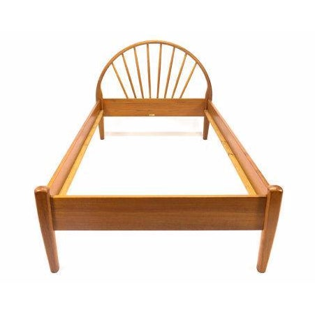 Jespersen Danish Teak Peacock Back Twin Bedframe For Sale