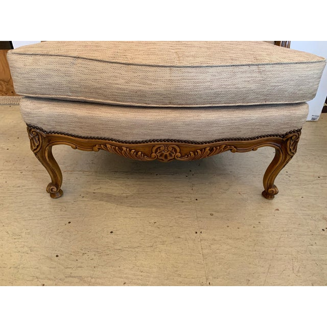 Wood Handsome Louis XV Style Bergere With Neutral Taupe Rose Tarlow Upholstery For Sale - Image 7 of 12