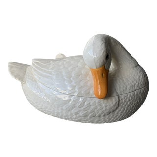1960s Glazed Ceramic Duck Tureen & Spoon- 2 Pieces For Sale