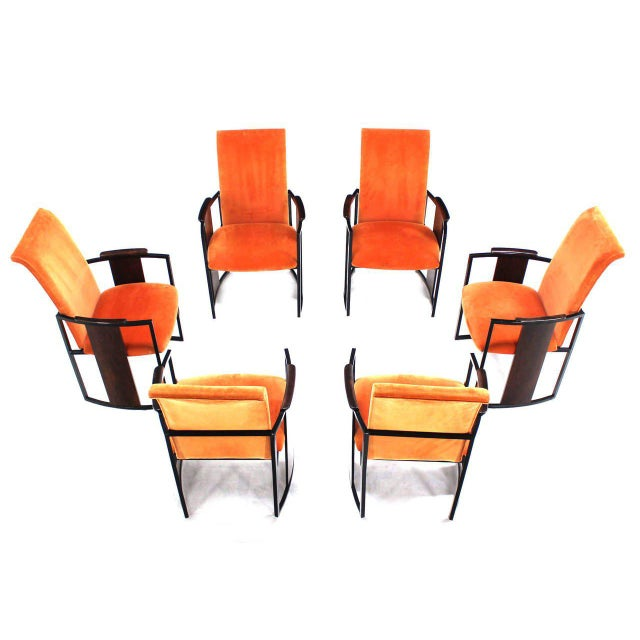 Mid-Century Modern Metal and Rosewood Frame Dining Chairs - Set of 6 For Sale - Image 9 of 11