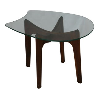 Mid-Century Modern Adrian Pearsall Wood Side Table With Freeform Glass Top