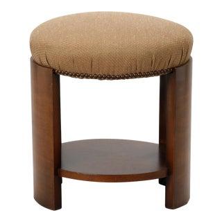 Art Deco Round Upholstered Stool