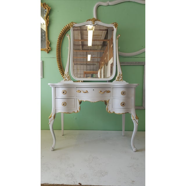 French Antique White & Gold Makeup Vanity Mirror & Chair For Sale - Image  ... - Antique White & Gold Makeup Vanity Mirror & Chair Chairish