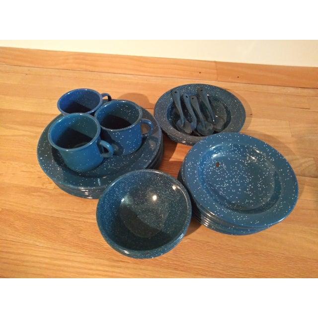 1970s Vintage Blue Granitewear Enamelware Dishes For Sale - Image 5 of 5