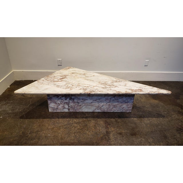 1970s Triangular White Marble Italian Coffee Table For Sale - Image 11 of 11