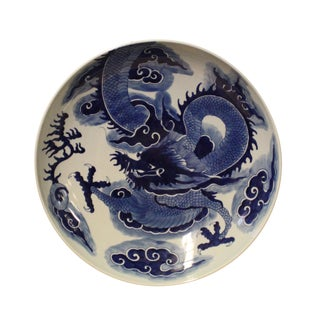 Chinese Blue White Dragon Painting White Porcelain Charger Plate For Sale