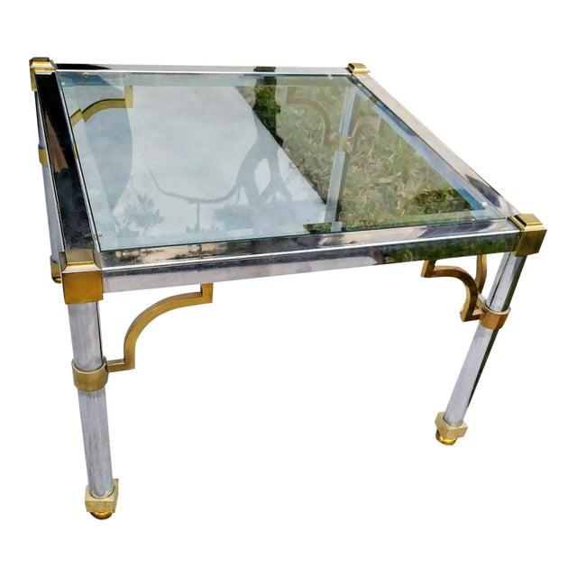 Master Craft Vintage Brass Chrome Fret Work Corner Glass Top End Side Table For Sale