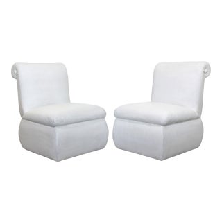 Contemporary Modern White Leather Accent Slipper Side Chairs, 1980s - a Pair For Sale