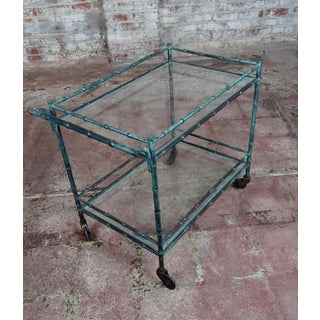 1930s Vintage Faux Bamboo Patinated Bronze Serving Bar Cart Preview