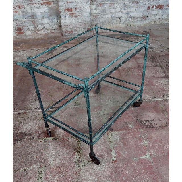 "Beautiful 1930s Faux Bamboo patinated bronze Serving Bar Cart Trolley Dimensions 24 1/2 "" H x 27 1/2"" W x 17 1/4"" D A..."