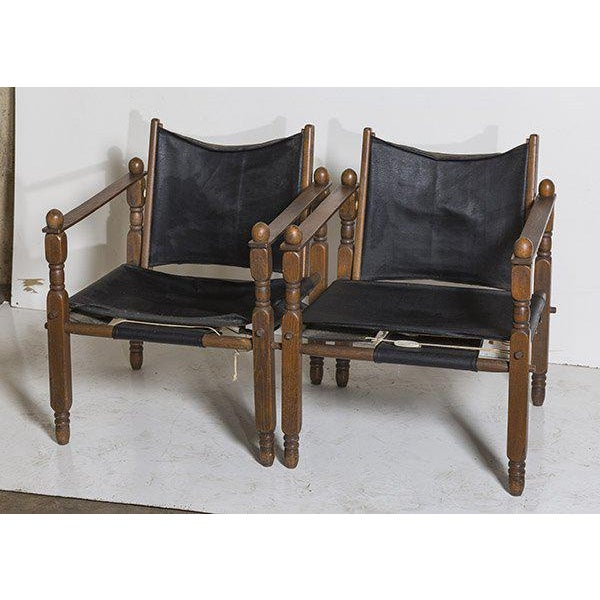 Mid-Century Modern Danish Modern Arne Norell Style Safari Chairs, a Pair For Sale - Image 3 of 9