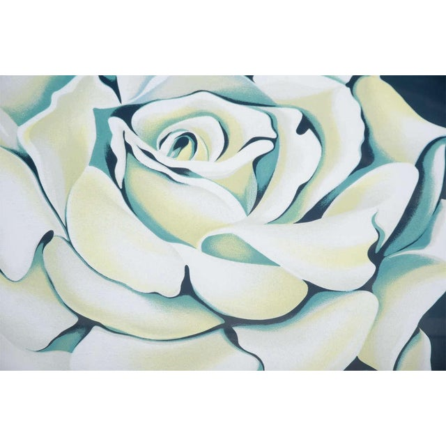 1980's Limited Edition White Rose Lithograph in Custom Frame by Lowell Nesbitt For Sale In New York - Image 6 of 10