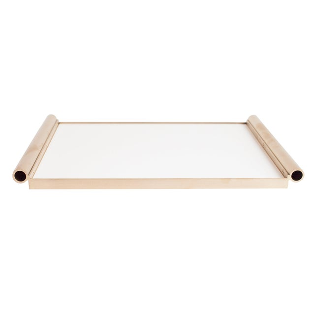 Metal Modern Contemporary 001 Tray in Brass and Lucite by Orphan Work For Sale - Image 7 of 7