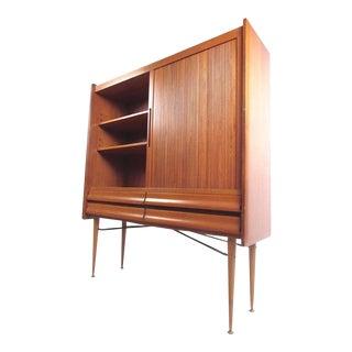 Tall Scandinavian Modern Tambour Cabinet For Sale