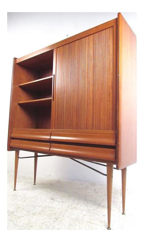 Tall Scandinavian Modern Tambour Cabinet